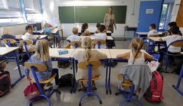 Schoolchildren study during a class in a primary school in Marseille on the start of the new school year in France